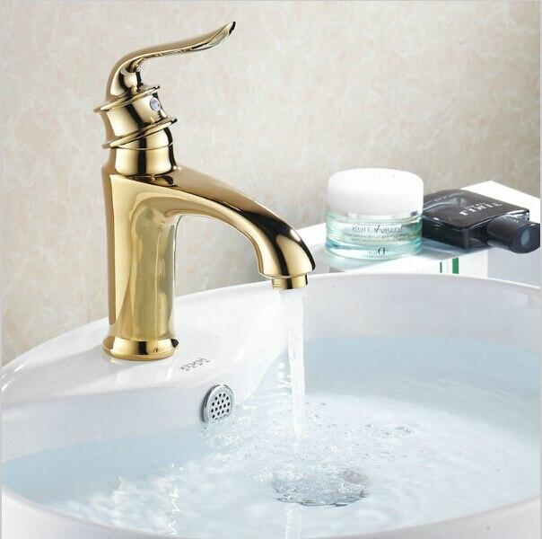 Robinets mélangeurs en cuivre doré   Mitigeurs de lavabo, robinets de lavabo à trou unique, robinet de lavabo G1016