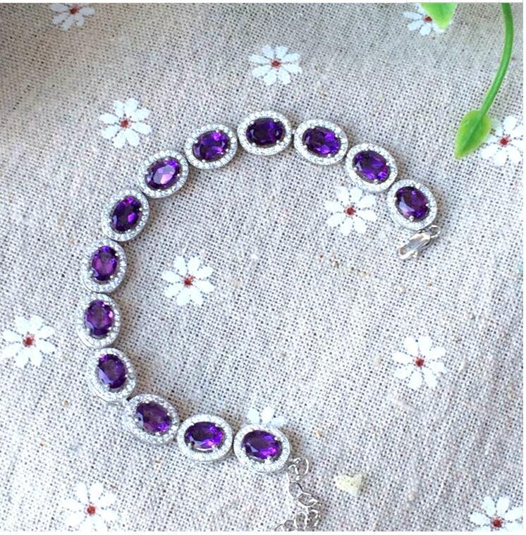 Pulsera de cadena amatista natural verdadera Plata de Ley 925 joyería fina gemas púrpuras 4*6mm 13 Uds para hombre o mujer
