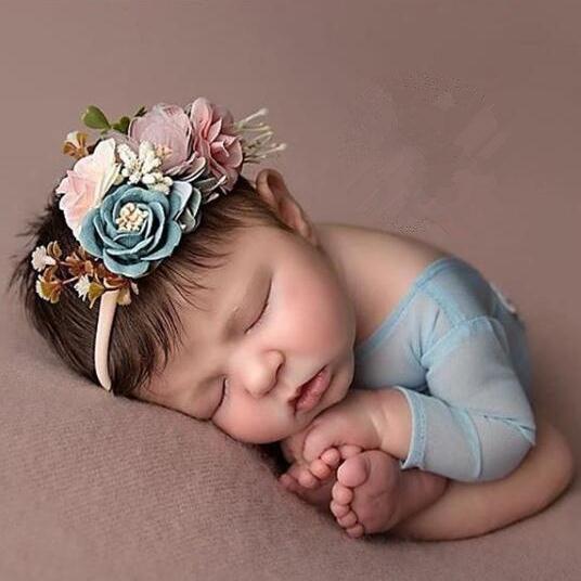 3pcs Baby Girl Artificial Flower Headbands Elastic Nylon Newborn Headwear Babes Party Hair Accessories