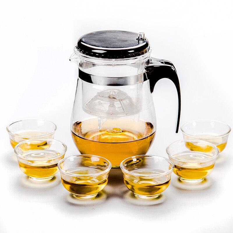 Juego de tetera Infusor de té de vidrio + 6 Teacup chino juego de té de kung fu hervidor de tetera para oficina uso en casa D028