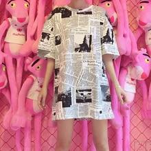 2020 sommer Harajuku Zeitung Stil Frauen Druck Brief Lose Lange Top Studenten Kurzarm Casual Tees T-shirt Streetwear