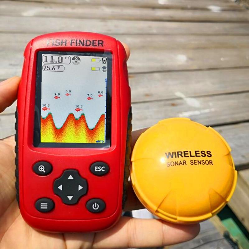 Eco sounder FFW718 actualizado recargable y color inalámbrico buscador de peces portátil 40 M/120 pies Sonar alarma de profundidad océano río lago
