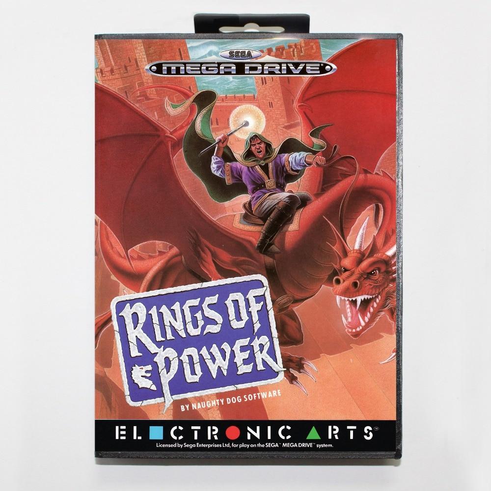 Anéis de poder de 16 bits da SEGA MD Cartão de Jogo Com Caixa de Varejo Para Sega Mega Drive Para Genesis