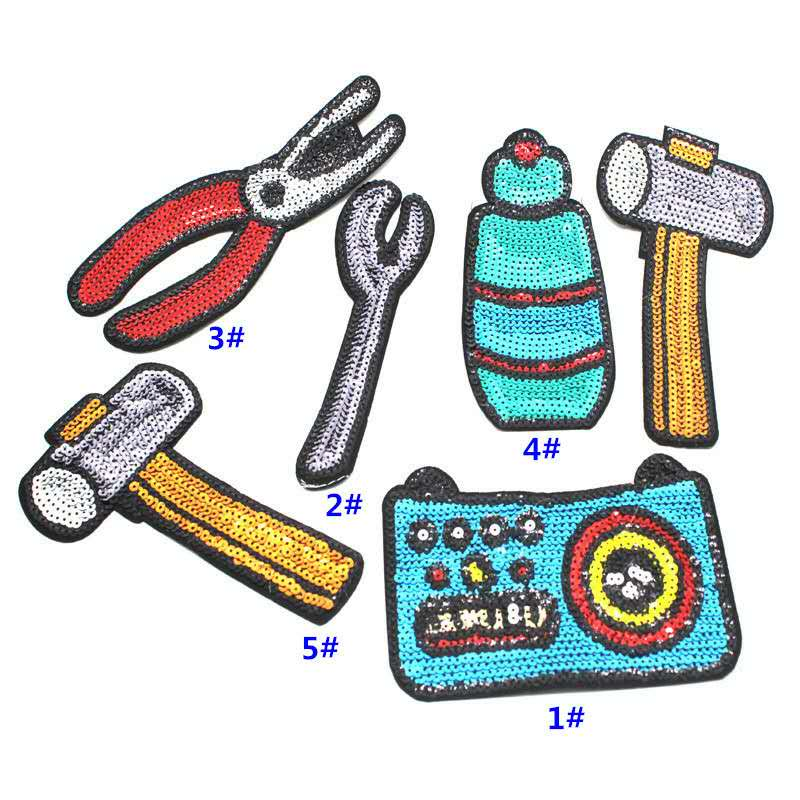 1 conjunto (6 pçs) martelo pliter spanner lantejoulas costurar/ferro em remendos para roupas camiseta diy lantejoulas ferramentas remendo aplique decorativo