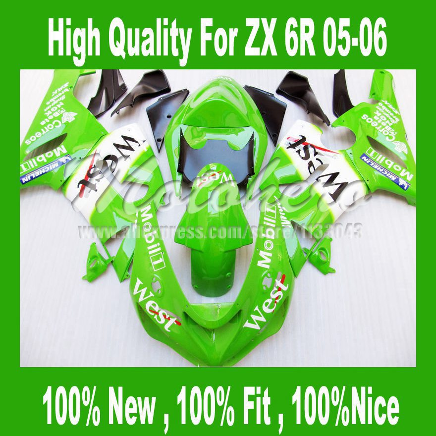 ABSNINJA ZX 6R 636 carenado PARA KAWASAKI ZX 6R 05 06 ZX-6R 636 05 06 ZX6R ZX 6R 2005 2006 ABS carenado kits OESTE Verde blanco