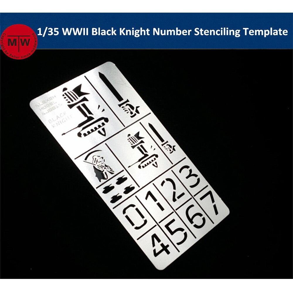 Escala 1/35 WWII alemán Caballero Negro número Plantilla de plantilla de fuga lámina para aplicar aerosol modelo herramientas de construcción AJ0016