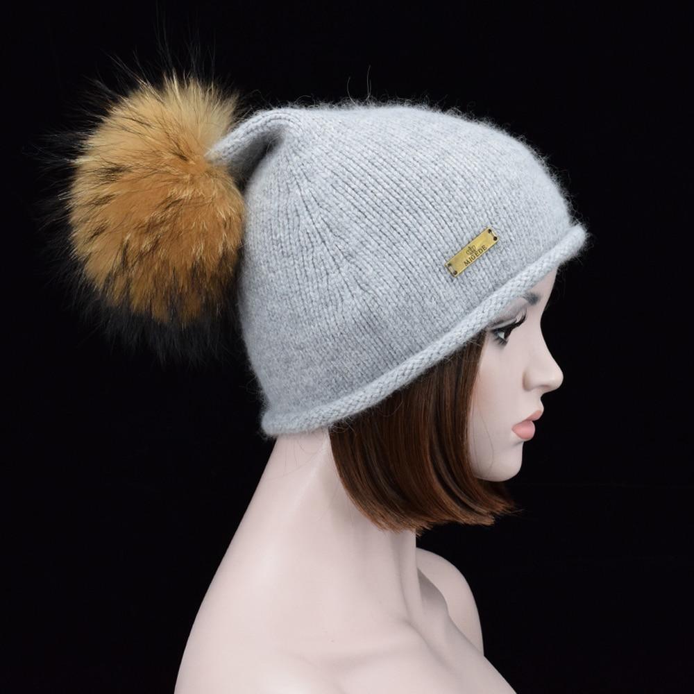 Luxury Big Raccoon Fur pom pom Knit Beanies Womens Keep Warm wool hats in winter Pointy hat Skullies & Beanies Female caps