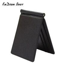 Мужской тонкий кошелек KUDIAN BEAR, однотонный кошелек с клипсой для денег, дизайнерские чехлы с держателем для денег и карт, BID213 PM49