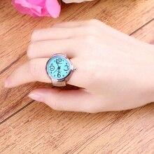 Креативная Леди Девушка сталь круглый Эластичный Кварц кольцо на палец часы 4TML