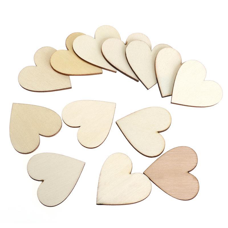 BESTOYARD DIY Blank Heart Wood Slices Discs Wood Heart Love Blank Unfinished Natural Crafts Supplies Wedding Ornaments
