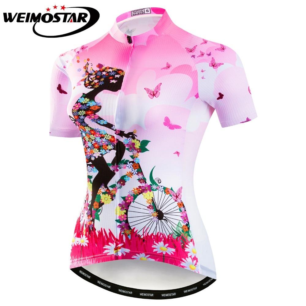 Pink Green Cycling Jersey Women Bike Top Shirt Summer Short Sleeve MTB Cycling Clothing Ropa Maillot Ciclismo Bicycle Clothes