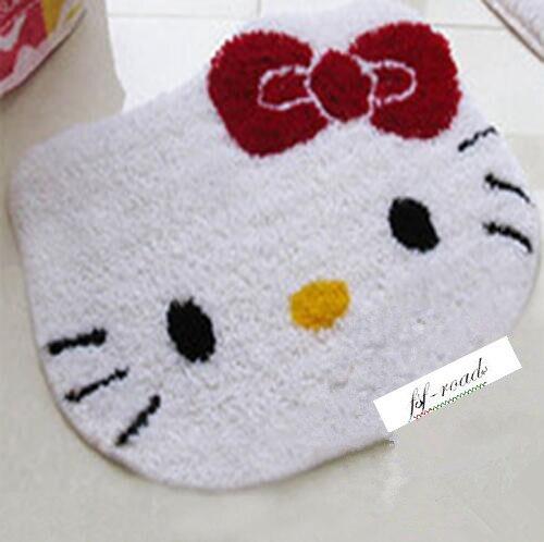 DIY Mat kit de costura alfombra de ganchillo sin terminar hilado cojín tapiz bordado blanco lindo gatito