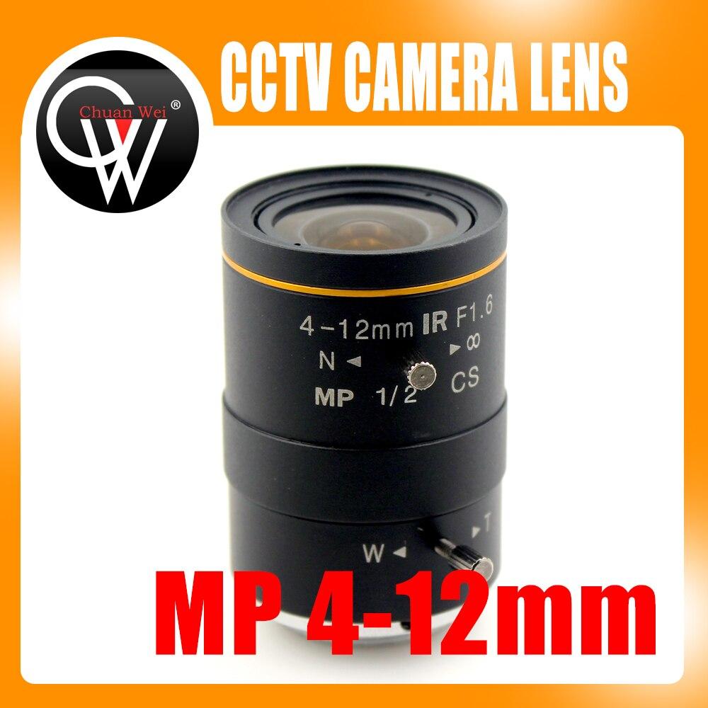 عدسة F1.6 MP CS ، 4-12 مللي متر IR ، جبل ، صناعة ، لكاميرا cctv ، رقائق CCD 1/2