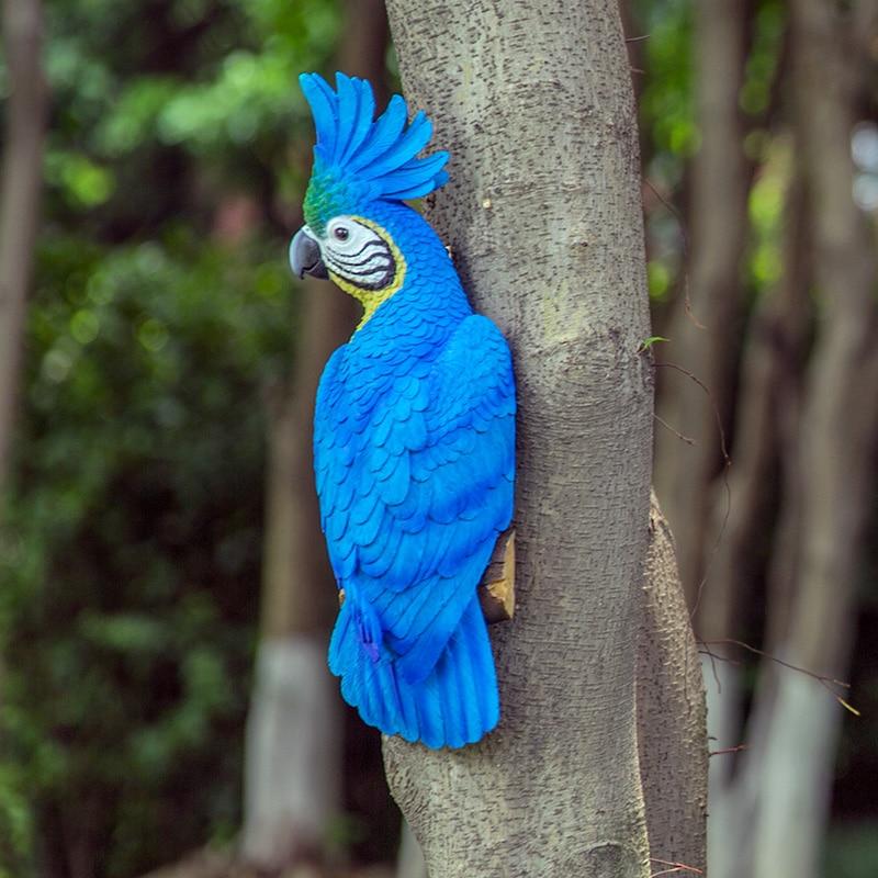 34cm decorative parrot figurines garden door birds decoration statues artificial animal craft tree wall hanging sculpture