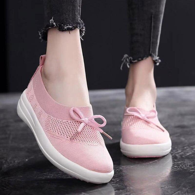 Zapatillas de deporte de moda MWY, zapatos planos de tela elástica para mujer, zapatos informales ligeros para mujer, mocasines de mujer para exteriores