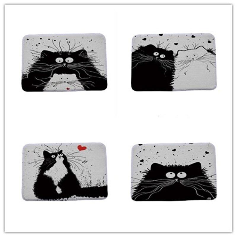 Современный мультяшный черно-белый кот Печатные дверные маты Противоскользящий коврик для прихожей ванной комнаты гостиной спальни ковер для дома