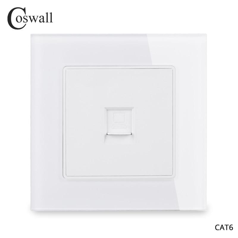 Panel de cristal cosmall 1 Gang RJ45 conector de Internet CAT6 Salida de PC toma de datos de pared