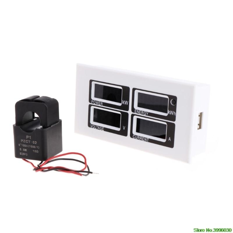 Fashion 4in1 Digital Ammeter Voltmeter Watt Power Energy Meter AC 80-260V 100A PZEM-004