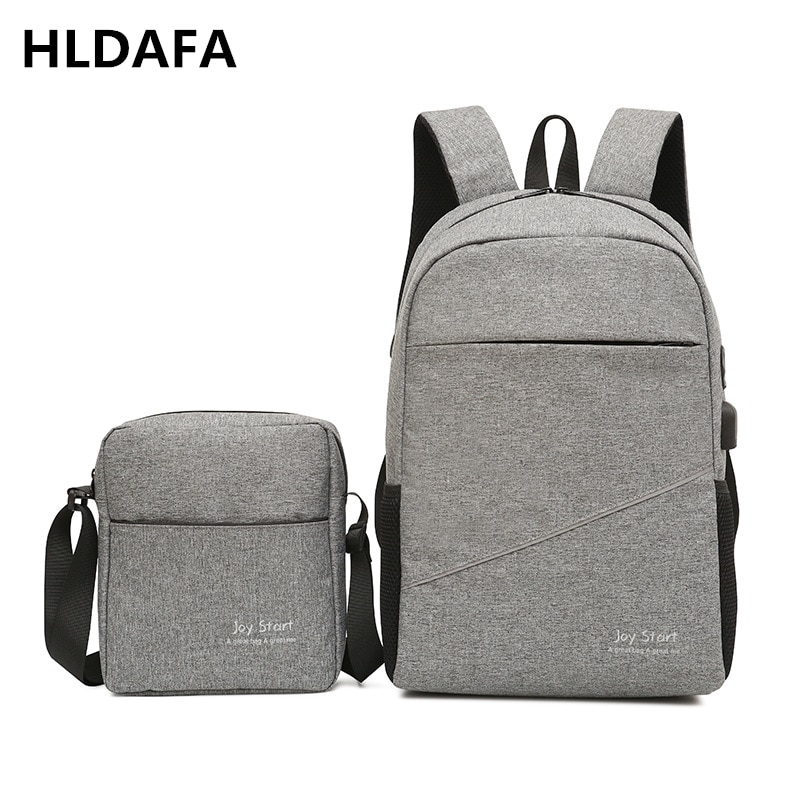 HLDAFA 2019 New 2PCS/Set Nylon Casual Travel Men Backpack Unisex Woman USB Charging Business School Bag For Teenager Men Mochila