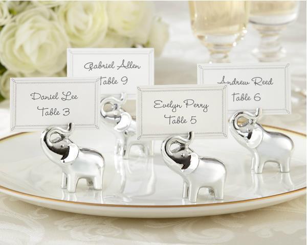 24 unids/lote, portatarjetas de elefante plateado, Decoración de mesa de boda, suministros de recuerdos para fiesta, regalos para despedida de soltera