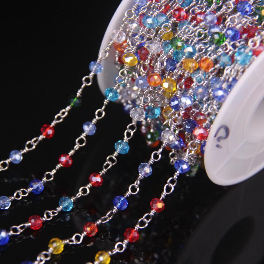 5 metros Multicolor vidrio 3x4mm facetado Rondelle cuentas Cadena, cristal de cristal con plateado latón alambre Rosario envuelto cadenas