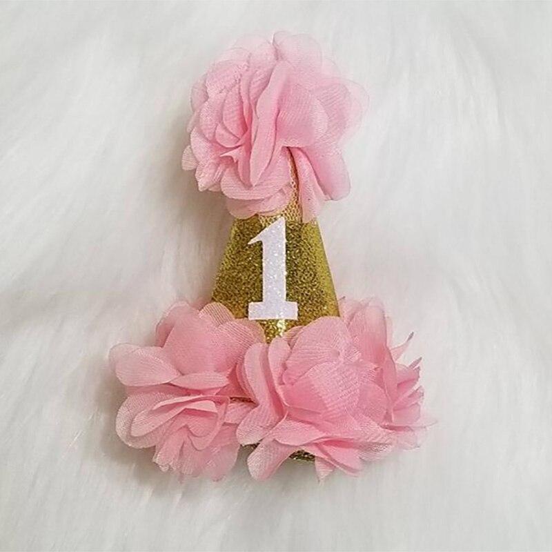 Sombrero de fiesta de feliz cumpleaños para bebés, niños, niñas, primer año de edad, diadema de flores, decoración de princesa príncipe, regalo, recuerdo, accesorio de foto
