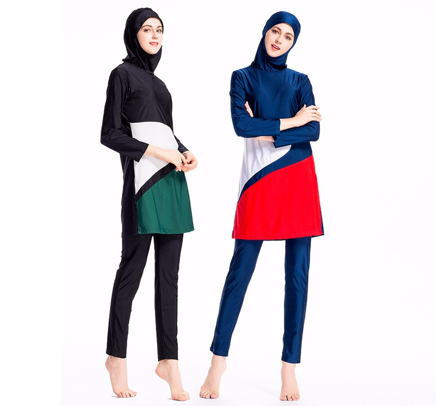 2018 mayo mujeres musulmanas bañadores para spa Islamic Patchwork Swimsuit Full Face hijab para nadar ropa de playa traje de baño ropa deportiva