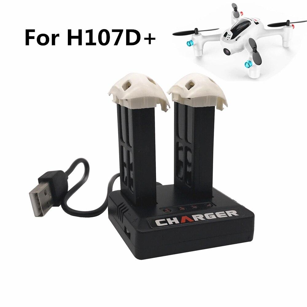 2 uds., cámara Hubsan X4 Plus H107D + H107D-3,7 V, batería Lipo de 520mAh para Hubsan con cargador de batería externo USB 2 en 1