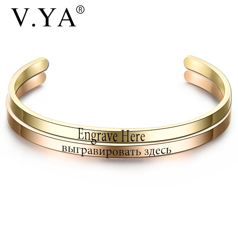 V.YA Fashion Simple Engraved Bracelet For Men & Women Customized Bangle Rose Gold/ Silver Color Stainless Steel For Friends Gift недорого