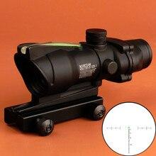 Ohhunt caza ACOG 4X32 Real Fiber Optics Chevron BDC retícula rojo verde iluminado Riflescope para Rifle. Calibre 223 .308