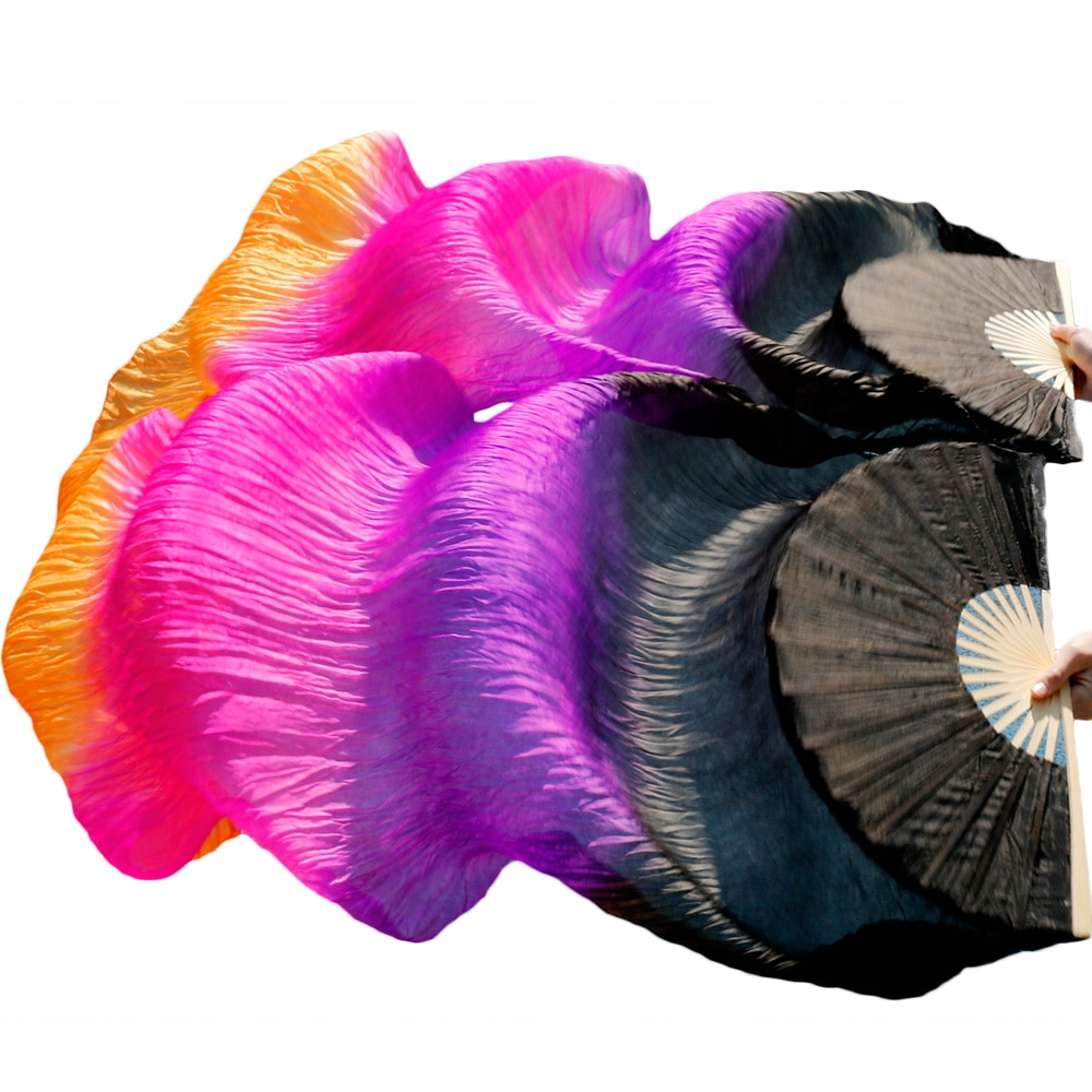High Quality Silk Belly Dance Fan 100% Real Veils Left+right  Colors Black+Purple+Rose red+Orange