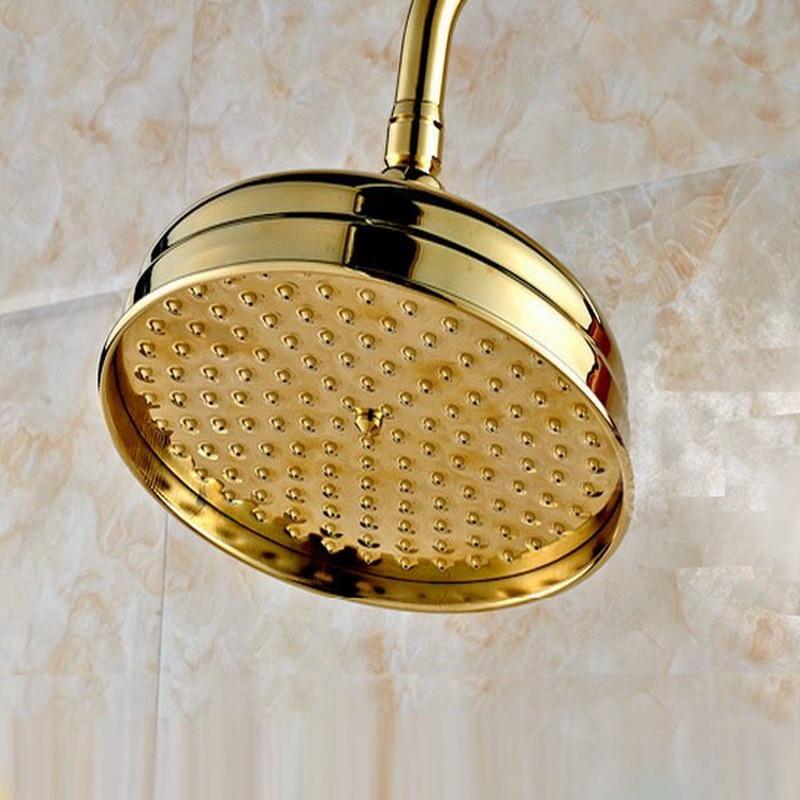 رأس دش نحاسي دائري 8 بوصة (بوصة) ، لون ذهبي مصقول ، دش مطري/ملحق حمام (قياسي 1/2 بوصة) ash050