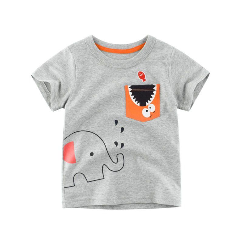 Детские футболки для мальчиков летние детские хлопковые с мультяшным принтом