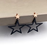 fashion jewelry rose gold small star shaped lifting hollow out black star earrings female titanium steel earrings