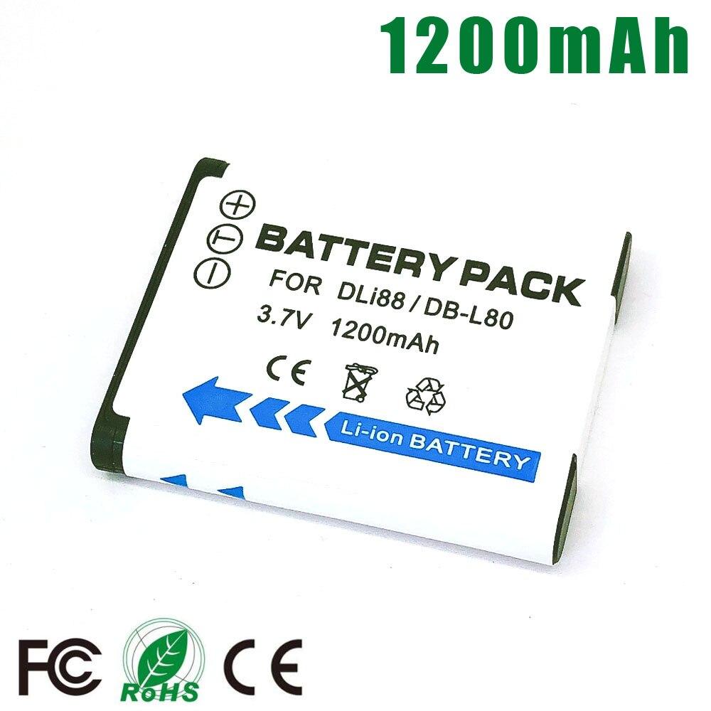D-LI88 DLI88 DBL80 DB-L80 batería para Pentax P70 P80 WS80 H80 H90 W90 caja-18 Sanyo CG10 CG11 CG20 CG100 CG102 CG110 GH1 GH2 CS1