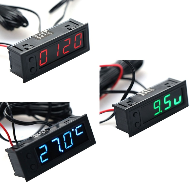 OOTDTY DIY Multifunction High-precision clock inside and outside Car temperature Battery voltage Mon