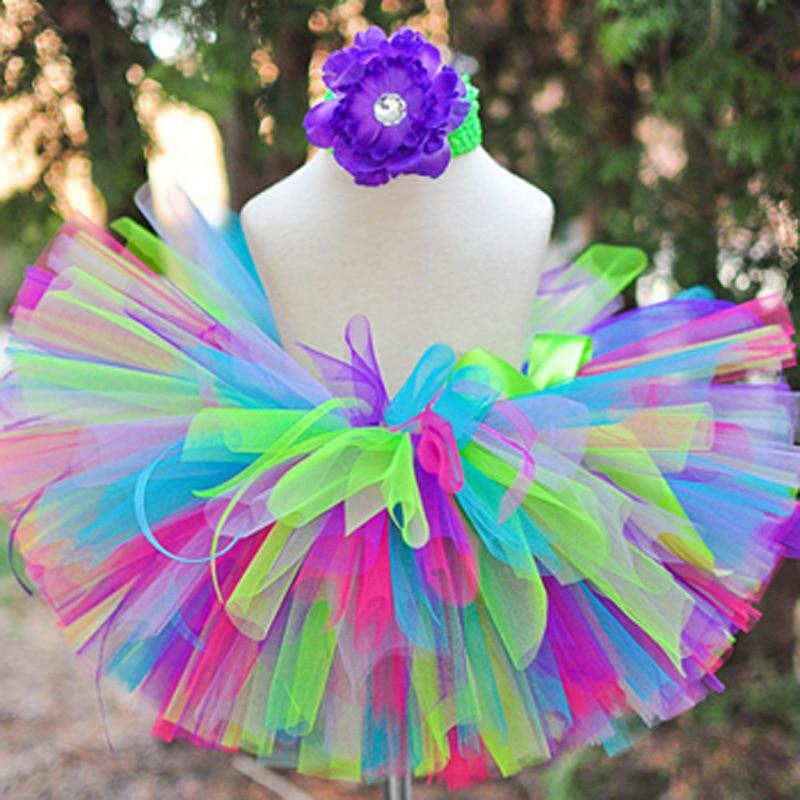 Colorful Baby Girl's Tutu Skirts Infant Fluffy Tulle Tutus Pettiskirts with Peony Flower Headband Set Kids Birthday Party Skirts