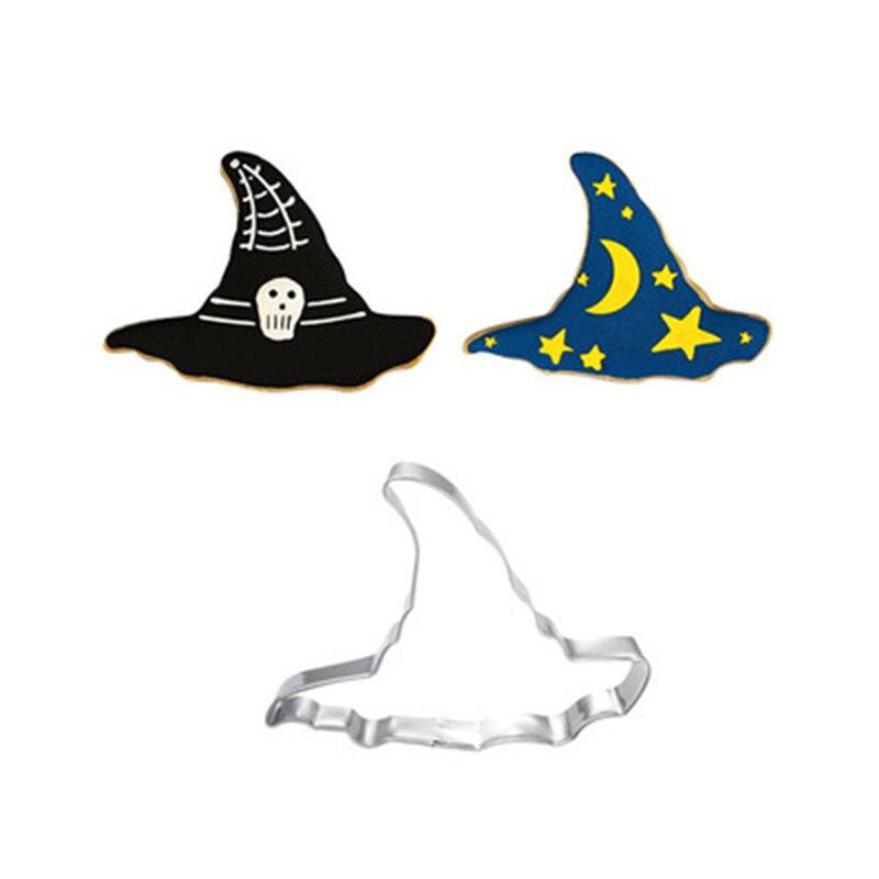 1 Uds gorro de bruja Halloween fantasma galleta cortador Metal galleta molde Acero inoxidable DIY postre herramienta de hornear para decoración de pasteles