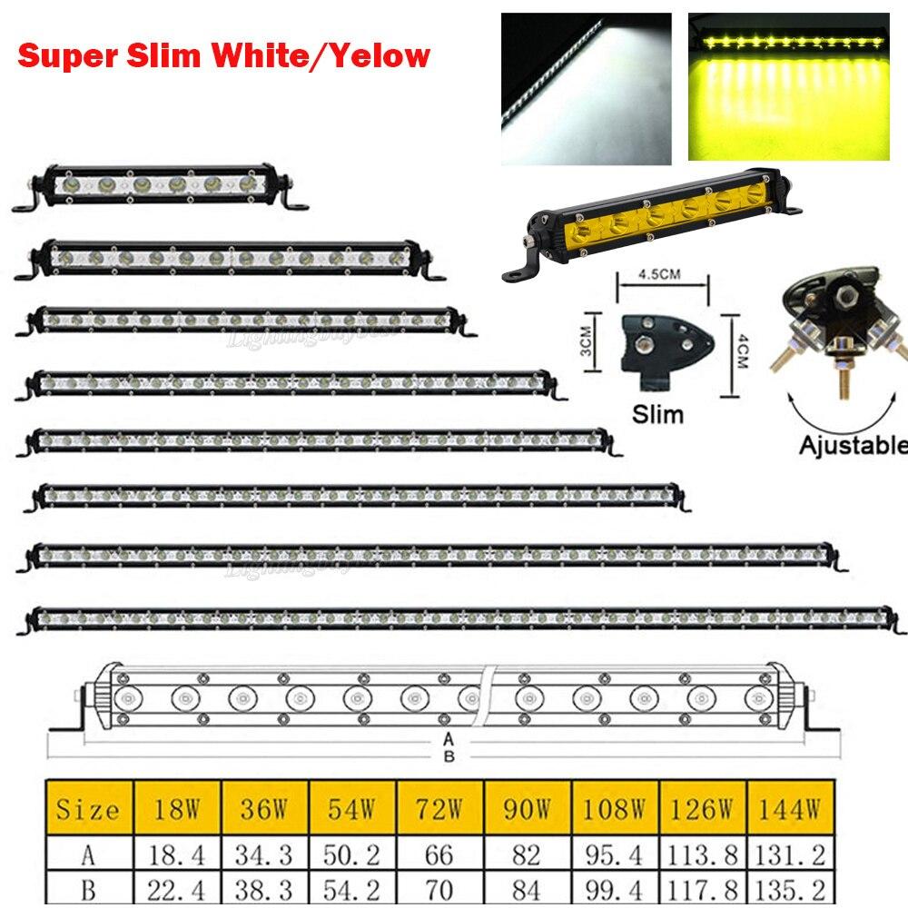 18 Вт 36 Вт 54 Вт 72 Вт 90 Вт 108 Вт 126 Вт 144 Вт Тонкий Однорядный белый желтый светодиодный рабочий свет бар для внедорожного вождения лампа для точе...