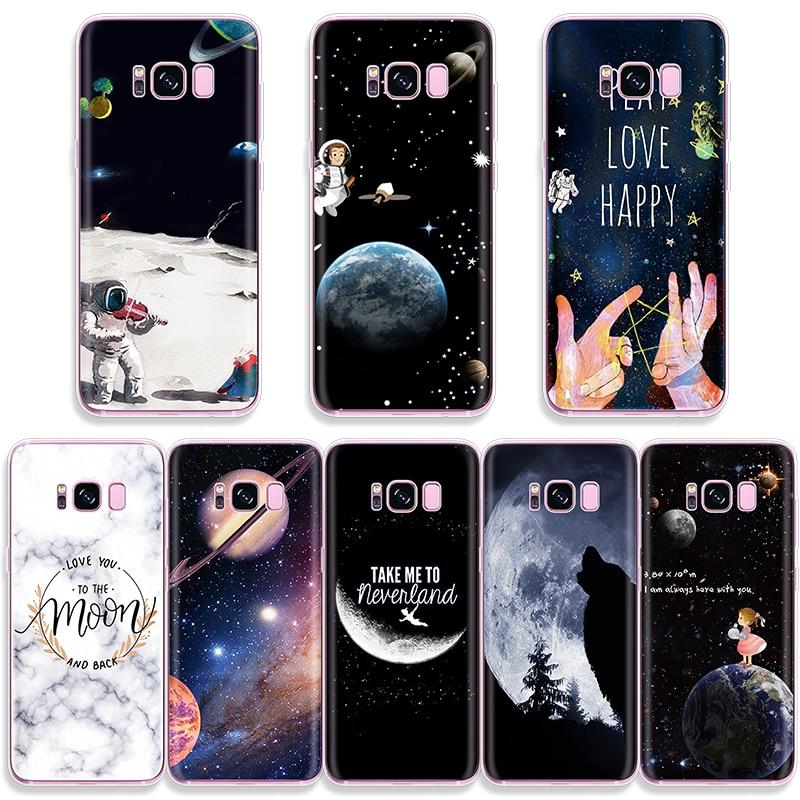 Astronauta caso para Samsung Galaxy i9060 G530 G360 A70 A50 A40 A10 A30 A20e S10e S3 S4 S5 Mini S6 S7 borde S8 S9 S10 Plus TPU Capa