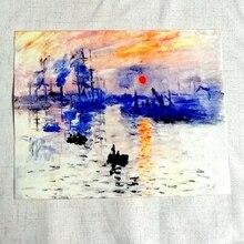 Cuadro al óleo de Monet tela de lona corte dirección pañuelo para costura con retazos para Patchwork para monedero Nostalgia y girasoles retro