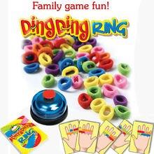 Drôle défi anneau Ding jouet jeux de fête de famille grands Gadgets pratiques pour 2-6 joueurs avec 24 cartes photo 60 cheveux 1 cloche