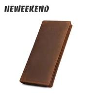 vintage retro casual genuine leather cowhide crazy horse simple long card cash photo wallet coin purse handbag for man 1008