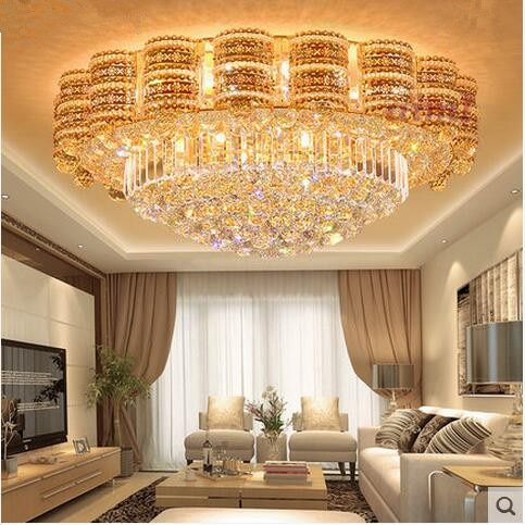 High qualLED 31W-40W 80CM European Modern Gold Roundles Crystal Light Sitting Room Bedroom Restaurant Ceiling Lights 110-240V  - buy with discount