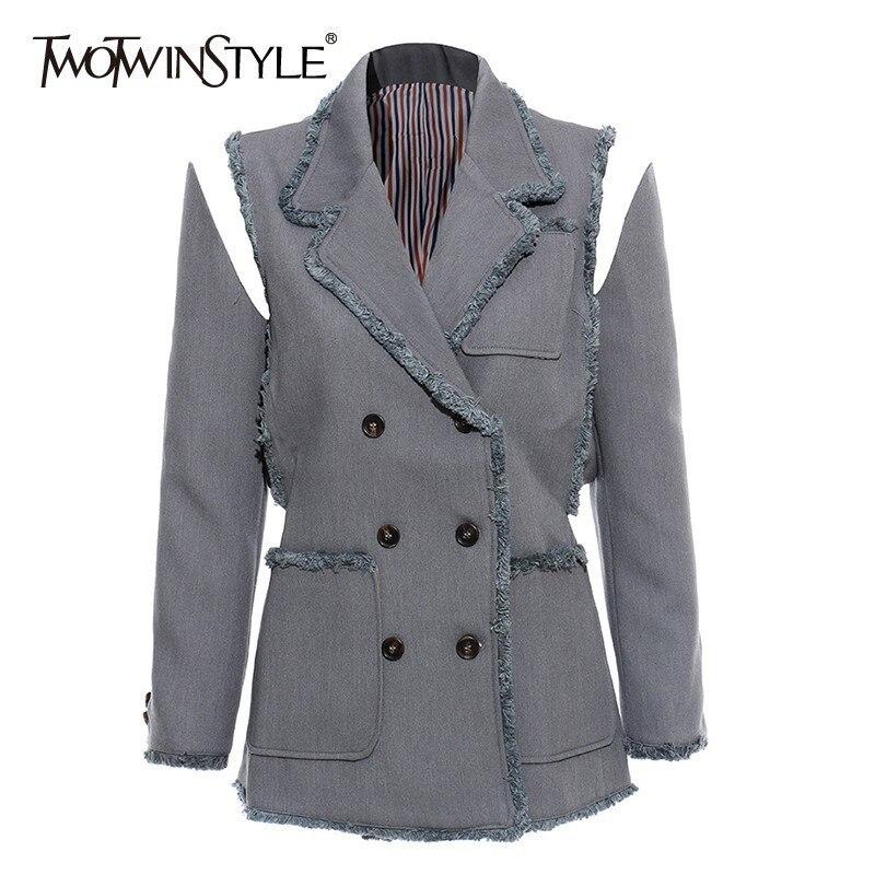 ¡Novedad de otoño 2020! chaqueta de retazos con borlas estilo TWOTWINSTYLE para mujer, cuello con solapa, manga larga, tamaño grande, moda de mujer para oficina