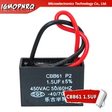 5pcs CBB61 1.5uf starting capacitance AC Fan Capacitor igmopnrq 450V CBB Motor Run Capacitor