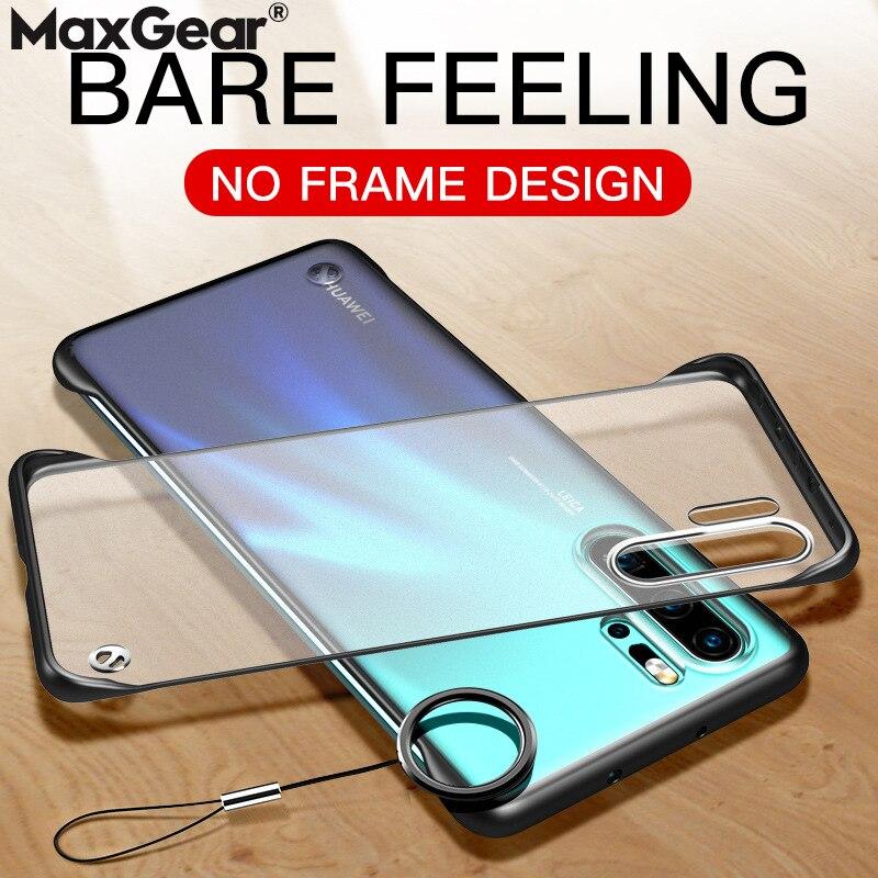 Clear Frameless Case For Huawei P30 P20 Honor 20 Pro Mate 10 View Slim Hard Matte Transparent Cover Ring Nova 5 Lite 10i P Smart