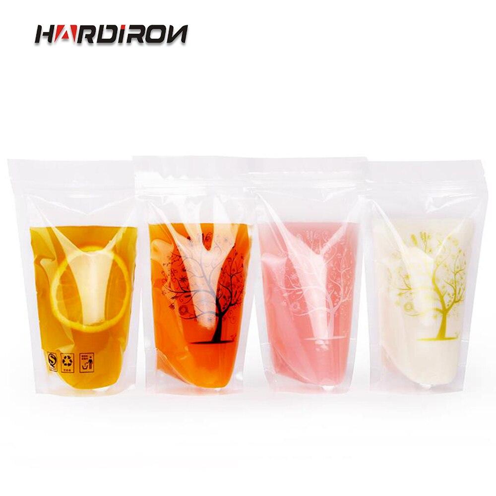 Bolsas de bebidas transparentes de pie de Color transparente, paquete de bebidas autoselladas gruesas, bolsa para bebidas, bolsa de plástico para beber con pajita