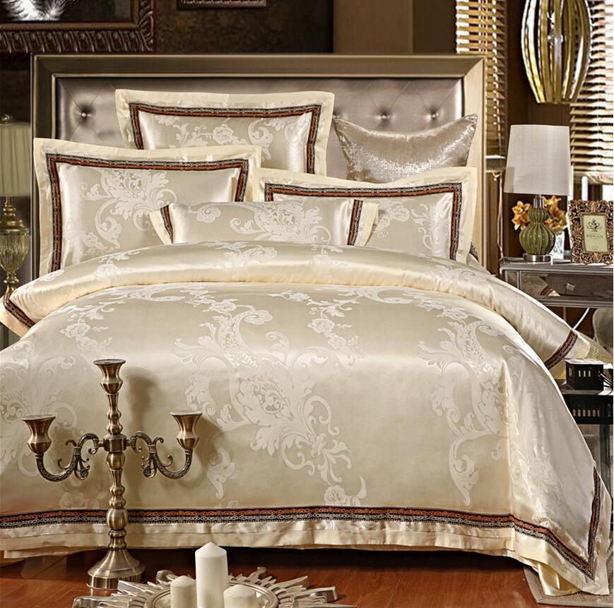 Beige Jacquard Silk Bedding set Luxury 4pcs Embroidered Satin duvet cover set queen king size bedclothes bed sheet linen cotton