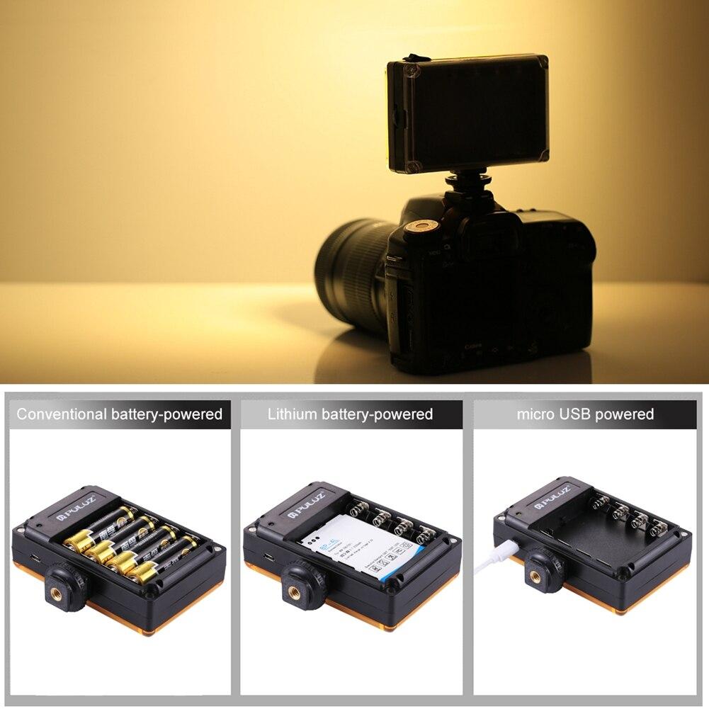PULUZ, nuevo Panel de luz de vídeo de 96 LED, luz de relleno de foto regulable para cámara de vídeo, Zapata, lámpara LED de iluminación para videocámara de cámara DSLR